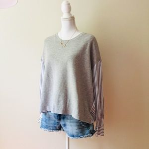 LOFT | Mix Fabric Sweatshirt & Striped Pattern Top